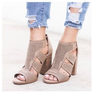WILA Shoes - FEW LEFT🌸 taupe cutout peep toe bootie